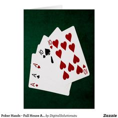 Poker Hands - Full House Ace and Ten Card