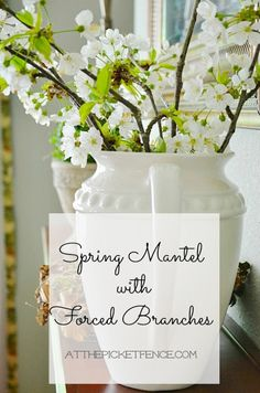 Spring Mantel decorating with flowers @At The Picket Fence