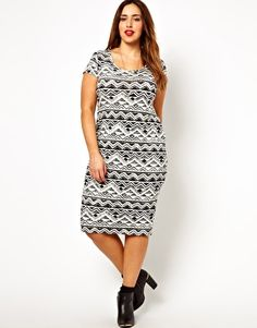 Image 1 ofNew Look Inspire Distressed Aztec Midi Dress