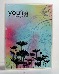 """By Beth Norman. Looks like background was sponged then stamped using """"French Flair,"""" a 2006 Stampin' Up stamp. Then """"Upsy Daisy"""" (also by Stampin' Up) & sentiment were stamped in VersaFine & heat embossed in clear or black powder."""