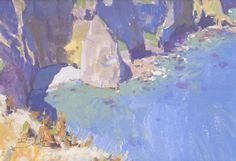 Dan Schultz, A little cove on Santa Cruz Island, Channel Islands National Park. 5x7 gouache painting
