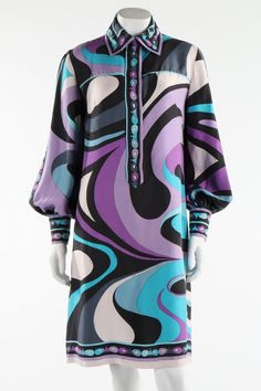 Costumes Dress, Emilio Pucci, late via Kerry Taylor Auctions - 60s And 70s Fashion, 60 Fashion, Fashion History, Retro Fashion, Vintage Fashion, Fashion Design, Emilio Pucci, Vintage Dresses, Vintage Outfits