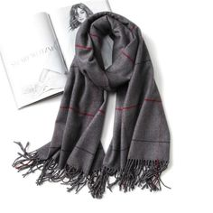 HAND MADE PURE CASHMERE VERY SOFT LARGE STRIPED FRAYED SCARF//WRAP*BEIGE//GREY*