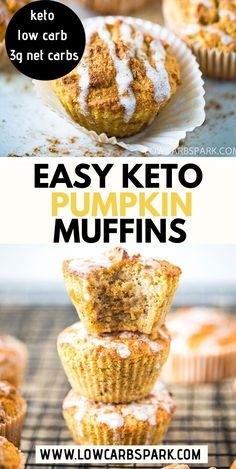 These Keto Pumpkin Muffins are super easy to make packed with flavor moist and ready in less than 30 minutes. Enjoy some delicious homemade low carb pumpkin muffins that are perfect for breakfast or as a snack. You have to try the best keto muffins! Low Carb Dinner Recipes, Keto Recipes, Dessert Recipes, Keto Desserts, Keto Dinner, Healthy Pumpkin Desserts, Healthy Pumpkin Muffins, Flour Recipes, Cooking Recipes