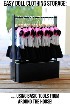 How to make a doll clothing rack (doll wardrobe) via lilblueboo.com #diy #tutorial #americangirl
