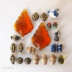 Beads assorted shapes and sizes glass ceramic and metal by lovelui