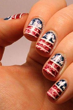 Show your pride with this fun distressed american flag nail art