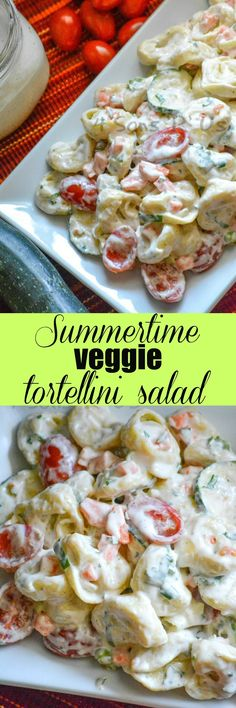 A simple pasta salad thats loaded with fresh ingredients this Summertime Tortellini And Vegetable Pasta Salad is bold bright and a beautiful addition to any seasonal menu. Easy Pasta Salad, Pasta Salad Recipes, Noodle Recipes, Vegetable Pasta Salads, Cooking Recipes, Healthy Recipes, Summer Salads, Summer Bbq, Summer Food