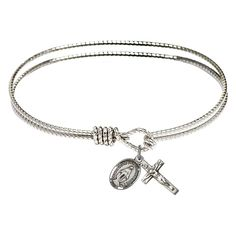Textured Bangle BraceletCatholic Jewelry This double-band bracelet has a rope look to remind you to only tie yourself to Christ and follow His will throughout your life. Makes a perfect gift for Confirmation or RCIA, those beginning their journey with God and the Church. Measures 7 inches with latch closure.Comes with petite charms of the Miraculous Medal and holy Crucifix.Place into your cart or wish list above.