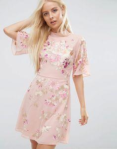 Image 1 ofASOS PREMIUM Chinoiserie Embroidered Mini Dress