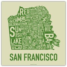 We love typographic maps — we have the SF one in our SF office in yellow and black!