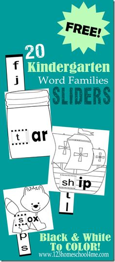 FREE 20 Kindergarten Word Family Sliders! Help Preschool, Kindergarten, and 1st Graders read 20 common word families with this fun reading activity!