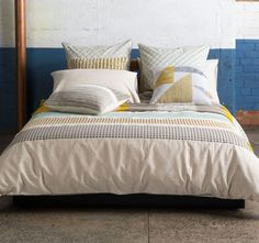 Seb Multi KAS ROOM Fans of minimalist design will love the clean and simple lines of Seb. Features: Linen and cotton 3 panels of rich embroidery in on trend shades - Quilt Sets Queen, Quilt Cover Sets, Guest Bedrooms, Soft Furnishings, Minimalist Design, Duvet Covers, Pillows, Pillow Shams, Quilts