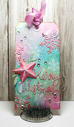 Created by Mary Dawn using Simon Says Stamp Exclusive Dies for this fun and colorful tag.  December 2013