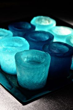 Ice Shot Glasses: DIY Winter Wedding or Party Drinks by Christina (coloured with Kool-aid or the like)