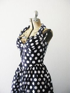 Vintage 1980's Polka Dot Halter Dress