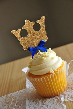 Crown Cupcake Toppers - ships in 1-3 business days - Royal Prince Baby Shower Decorations. 12CT.