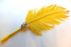 Yellow Ostrich Feather Pen