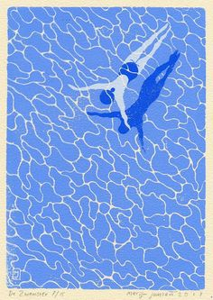 Linocut print of a swimmer swimming in a pool. Art Inspo, Kunst Inspo, Inspiration Art, Art And Illustration, Illustration Inspiration, Graphic Design Illustration, Linocut Prints, Art Prints, Block Prints