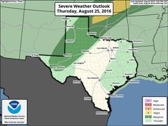 Thursday, August 25: Scattered thunderstorms with locally heavy rain are expected today across the Texas Panhandle, South Plains, Rolling plains, Permian Basin, Pecos Basin, Northeast Texas, East Texas, and Southeast Texas. Some storms in the Texas Panhandle, West Texas, and Permian Basin may be severe with damaging winds. Localized flooding is also possible. Rain chances increase on Friday along and east of Interstate 35. Check out the full forecast at http://texasstormchase