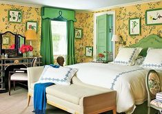 Colors have a great impact on the look of the room, in how your room looks colors plays an important role. Green has a very good effect on the mental health; it's a good color that takes people towards the recovery process. See how best the combination of green and cream is looking, the sceneries and the bed also has a bit of it in the room and it is looking absolutely stunning.