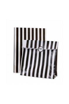 Godispåse - svart/vit randig (12-pack)