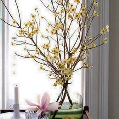 Spring Deco with a flowering branch