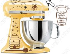 Honey Bee Decal Kit for your Kitchenaid Stand Mixer - With a Honey Spread Recipe