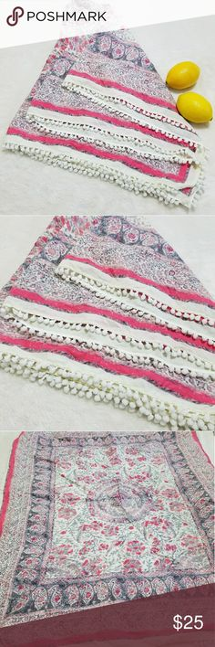 "Extra Large Pom Pom Trim White, Pink, & Gray Scarf -Excellent used condition- no stains, rips, or tears -Fuzzy pom pom trim  -Medallion and paisley design Please note measurements for size comparisons: -W 43.5"" -L 35"" -Cotton -Cream/white, pink, and soft gray (colors' appearance may vary on screen)  Questions? Just ask! Bundle to save!  Offers welcome  Happy Poshing! Accessories Scarves & Wraps"