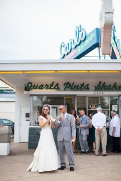 Bride & Groom took all the wedding guests to a local ice cream shop while on their trolley tour! Love this! | James & Olivia's rustic, DIY intimate Bed & Breakfast wedding in Fredericksburg Virginia | Images: Erin Forehand Photography