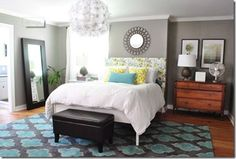Bedroom from Young House Love, included in list of best griege paint colors.