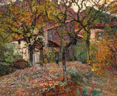 Victor Leon Charreton 1864-1937 (French) House between the autumn trees oil on artist board