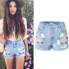 Buy Online SUNSPA Embroidery Denim Shorts Floral High Waist Jeans Short Femme Frayed Shorts For Women Summer shorts Fashion 2017 Shorts Jeans Plus Size, Denim Shorts, Ripped Shorts, Waisted Denim, Hot Shorts, Casual Shorts, Short Jeans, Shorts Bordado, Jeans Stretch