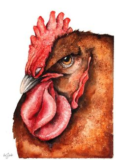 ARTFINDER: Rooster by Karolina Kijak - Original watercolors of Rooster Paper 300g,  100% cotton size 23x31cm  Follow me on facebook: https://www.facebook.com/kijakwatercolors