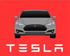 Tesla Model S // Tesla Motors By ModernCarArt On Etsy Https://www