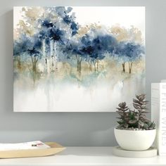 'waters edge iii' impression sur toile tendue - Drawing and Art Watercolor Landscape, Abstract Landscape, Watercolor Paintings, Abstract Art, Watercolour, Abstract Painting Ideas On Canvas, Abstract Watercolor Tutorial, Abstract Trees, Art Sur Toile
