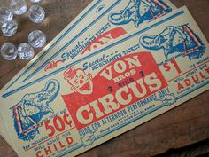 This listing is for my LAST 3 fabulous vintage circus paper tickets, circa 1950s. *One of the tickets is a darker yellow color compared to the