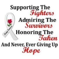 Everything there is to know about lung cancer Lung Cancer Quotes Inspirational | Never give up hope!!! | Lung Cancer Awareness | Pinterest