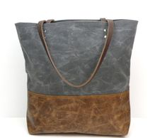 Urban Tote in Charcoal Waxed Canvas and distressed leather.