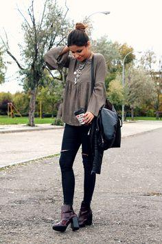 LITTLE BLACK COCONUT: Khaki bell sleeve blouse