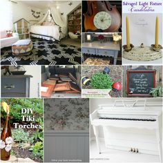 DIY tutorial roundup including violin repurposed into a clock, cabinet door ideas, diy tiki torches using bottles, white-planked piano and more.