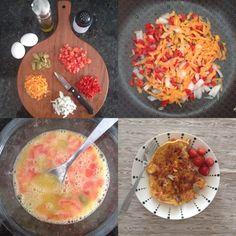Desjejum nota 10. Nutrientes, sabores e cores. Omelete Paleo.