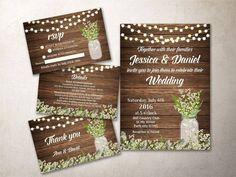Wedding Invitation, Rustic Wedding Invitations, Printable Country Wedding Ideas, Mason Jar wedding Invitation set. For more matching items follow the link: tranquillina.etsy.com