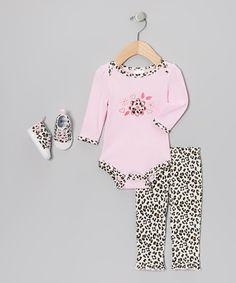 Pink Leopard Bodysuit Set #zulily #zulilyfinds