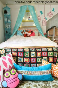 funky vintage girls room with lots of DIY projects