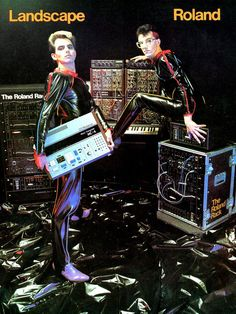 Richard James Burgess (L) and John Walters (R) of comedic/sci-fi NuRo maximalists Landscape, strike a pose with some of the latest editions to their technological arsenal in this 1981 ad for Roland keyboards.