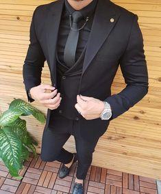 Black men fashion - Black Men Suits for Wedding Groom Wedding Tuxedos Groomsmen Suits Coat Pants Vest Wide Peaked Lapel Slim Terno Masculino Prom Party All Black Mens Suit, New Mens Suits, Tuxedo For Men, Mens Fashion Suits, Black Suits, All Black Tuxedo, Black On Black Suit, Black Tuxedo Wedding, Prom Suits For Men