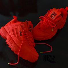 Red Fila Shoes, Vans Shoes, Shoes Sneakers, Sneakers Fashion, Fashion Shoes, Cute Sneakers, Fresh Shoes, Hype Shoes, Sneaker Heels
