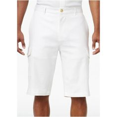 Men's Lightweight Cargo Shorts In Bright White Mens Big And Tall, Big & Tall, Mens Linen Shorts, Birch Wedding, Stretch Shorts, White Man, White Gold, Look Cool