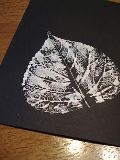 Leaf prints: white on black